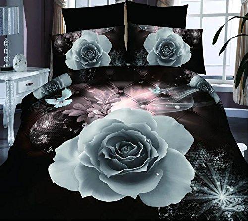 4Brilliant Weiß Rose 3D Prints Bettbezug Set für Doppelbett Größe (Queen-blatt Set Mit Bettdecke)