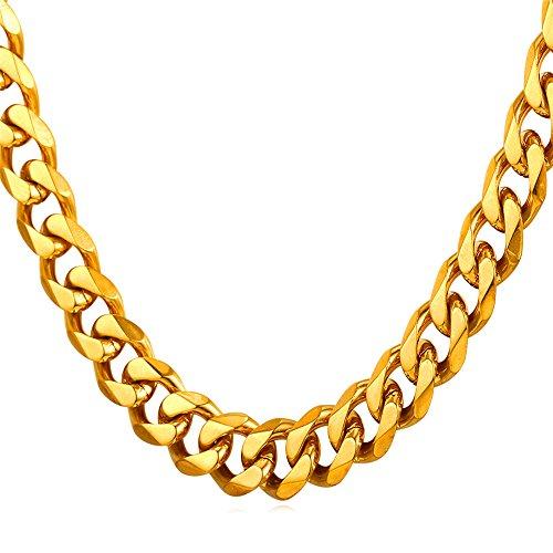 U7 9mm Herren Halskette 18k vergoldet Edelstahl Panzerkette Gliederkette für Männer Gold Ton Hiphop Biker Rocker Kette (Länge 55cm)
