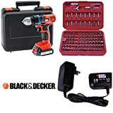 Black & Decker 18v cordless drill driver Lithium complete kit with 100 Piece Accessory set
