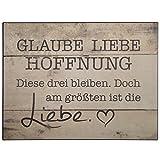 °* Metallschild 'Glaube,Liebe,Hoffnung' 33x25 cm (Braun)
