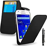 Samsung Galaxy Ace 4 - Leather Flip Case Cover Pouch + Retractable Touch Stylus Pen + Screen Protector & Polishing Cloth ( Black )