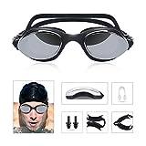 Gafas de Natación, HiHiLL Gafas de Natacion Espejo para Mujer y Bombre, Antivaho, Protección UV 400 con Tapones para Los Oídos y Clip para La Nariz