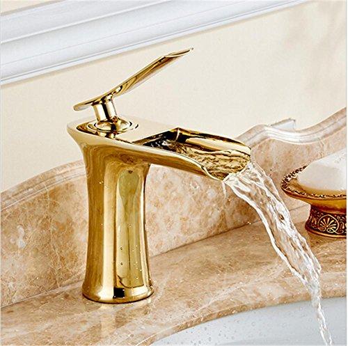 HomJo Badezimmer Wasserhahn Messing Keramik einzigen Handgriff flachen Mund Wasserfall Tap , 6