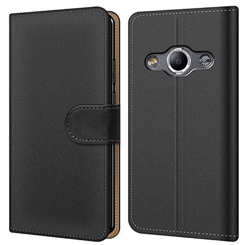Conie BW37267 Basic Wallet Kompatibel mit Samsung Galaxy Xcover 3, Booklet PU Leder Hülle Tasche mit Kartenfächer und Aufstellfunktion für Galaxy Xcover 3 Case Schwarz