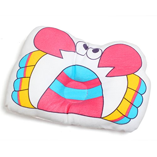 Baby Bucket Soft Cotton baby newborn Infant Toddler Sleeping Support Pillow Prevents Flat Head Newborn Baby Boy & Girl Antiroll Pillow Sleeping (Pink Crab)