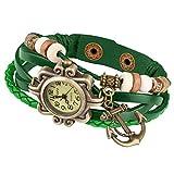 Taffstyle Damen-Armbanduhr Retro Vintage Geflochten Leder-Armband mit Charms Anhänger Analog Quarz Uhr Anker Gold Grün
