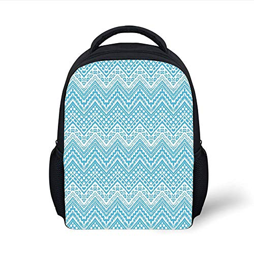 Kids School Backpack Light Blue,Hand Drawn Tribal Chevron Artwork African Native Ethnic Zigzag Boho Lines Decorative,Light Blue White Plain Bookbag Travel Daypack (Chevron Light Blue)