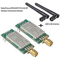 MakerHawk 2pcs NRF24L01 + PA + LNA Módulo inalámbrico en espuma antiestática Arduino compatible con antena (Wireless Transmission Module 2300M, As Shown)