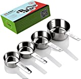 Gelindo Stainless Steel Measuring Cups - 4Pcs (60ML/80ML/125ML/250ML)- Food Grade Metal Measure Cup - Lifetime Diet Measuring-Cups with Engraved Measurements! Dishwasher Safe