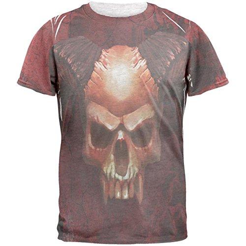 Halloween gehörnten Dämon-Schädel von Hell-Herren-T-Shirt White