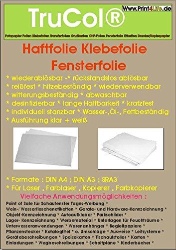 10 Blatt DIN A3 60µm matt weiße Haftfolie Klebefolie Fensterfolie wiederablösbar -rückstandslos ablösbar- reißfest hitzebeständig wiederverwendbar witterungsbeständig abwaschbar desinfizierbar lange Haltbarkeit