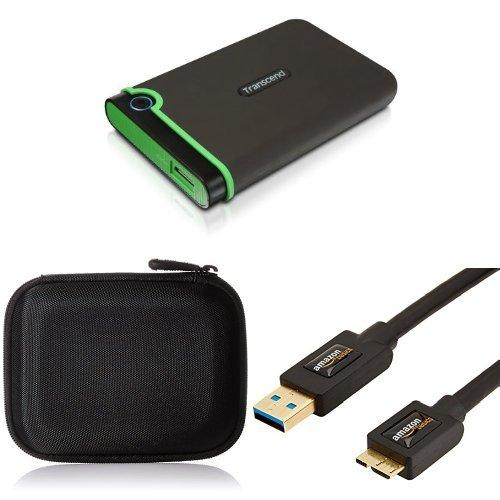 Preisvergleich Produktbild Set Transcend StoreJet 25M3 Anti-Shock 2 TB Externe Festplatte mit AmazonBasics Festplattentasche und AmazonBasics USB-3.0-Kabel