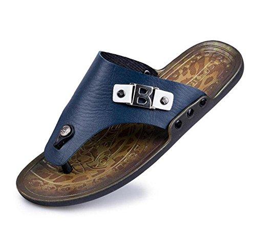 SHIXR Pantoufles pour hommes Open Back Flip Flop Simple Cool Chaussons Sandales pour extérieur Yellow Blue Blue