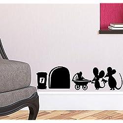 Vinilo adhesivo de pared para rodapié, diseño con agujero y familia de ratones, 19 x 5 cm.UKSELLINGSUPPLIERS