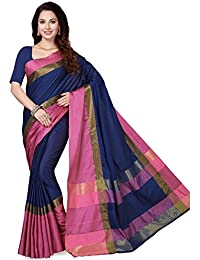 Ishin Art Silk Navy Blue & Pink Woven Zari Border Women's Saree