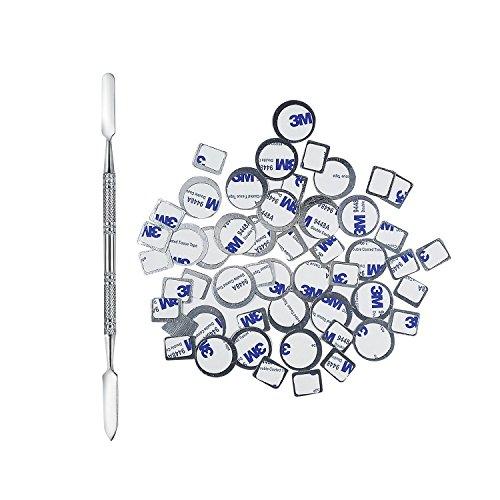 Allwon 56Pcs Metall Aufkleber für magnetische Palette leere Lidschatten Make-up-Palette + Depot Spatel (28Pcs Runde + 28Pcs Platz)