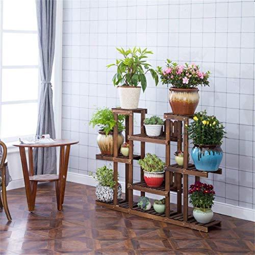 Antikorrosions-Garten-hölzernes Fach Innen / im Freien Blumen-Regal mit 5 Reihen Robuste und dauerhafte mehrschichtige Pflanzen-Präsentationsständer mit Rädern Blumen-Topf-Regal-Wohnzimmer-Schlafzimme -