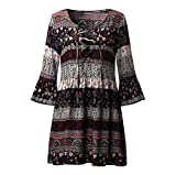 Longra Damen Bohemian Strandkleid 3/4-Arm Sommerkleid Minikleider Tunikakleid Bohemian Strandtunika Damen Vintage Bluse Kleider Kurze Kleider Sommer A-Linie Kleid (Black, 2XL)
