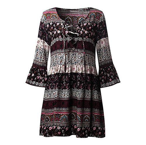 Longra Damen Bohemian Strandkleid 3/4-Arm Sommerkleid Minikleider Tunikakleid Bohemian Strandtunika Damen Vintage Bluse Kleider Kurze Kleider Sommer A-Linie Kleid (Black, 3XL) (Bohemian Röcke Style)
