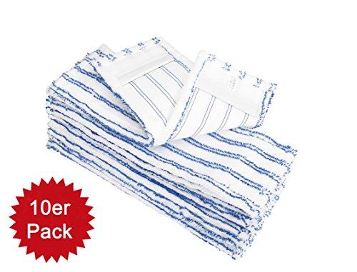 HELOME® 10x Microfasermöppe für Haushalt und Gewerbe - Wischmöppe für 40cm Mopphalter - Wischbezüge mit Blauen Abrasivstreifen - Taschenbezüge für Professionelle Reinigung