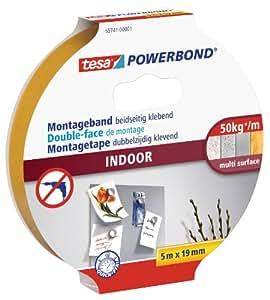 tesa doppelseitiges Montageband Powerbond für Innen, 5m x 19mm