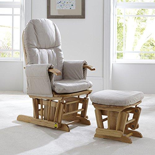 Tutti Bambini Deluxe Stillstuhl mit Fußhocker, gepolstert, mit 3 Liegepositionen, natürliches Holzgestell mit beigefarbenem weichem Stoff