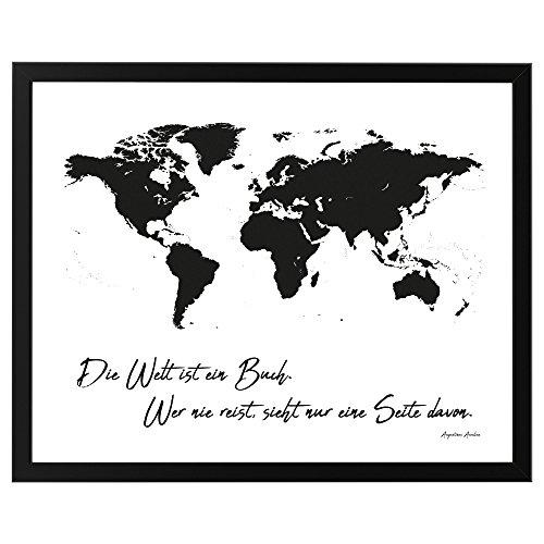 """Poster Weltkarte \""""Die Welt ist ein Buch. Wer nie reist, sieht nur eine Seite davon\"""", ungerahmt 50 cm x 40 cm, Dekoration, Kunstdruck, Wandbild, Fineartprint, Wandposter (Schwarz gerahmt 50 cm x 40 cm)"""