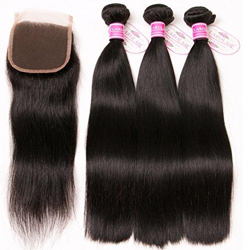 Clarolair capelli umani con chiusure brasiliano capelli dritti 3 pacchi con chiusura libera parte non trasformati12 14 16 + 10''