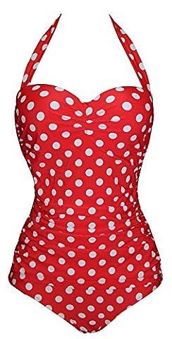Aidonger Damen Pin-Up Bikini Set Optimizer Flacher Bauch Badeanzug EU34-EU46 Gr.M-4XL (Retro Frauen-badeanzug)