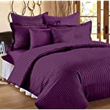 HOMEBEST™ Double King Size Bedsheet With 2 Pillow Covers -100% Pure Cotton Satin Plain Premium Platinum Superior Elegant Solid Stripes, Bedsheet For Home, Regular Use, Hotel Use, Multicolor