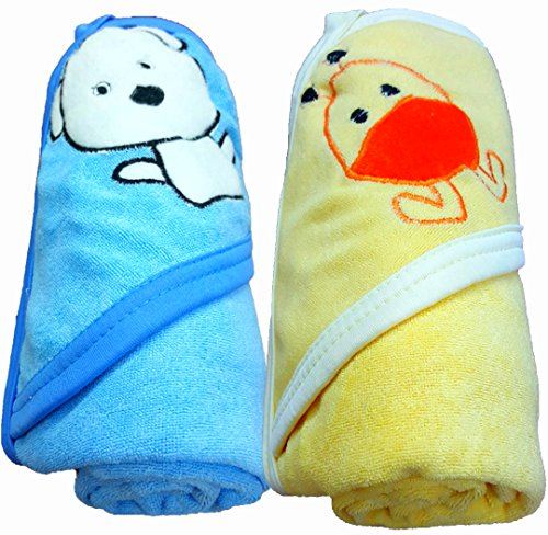 BRANDONN Baby Boy's And Girl's Terry Cotton Bath Towel (Blue And Mango, 0-2 Years) - Pack of 2