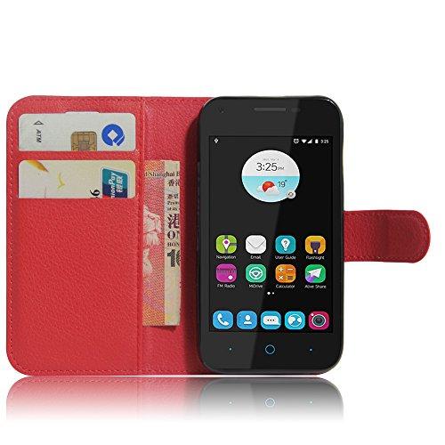 SMTR ZTE blade L110 Wallet Tasche Hülle - Ledertasche im Bookstyle in Rot - [Ultra Slim][Card Slot][Handyhülle] Flip Wallet Case Etui für ZTE blade L110