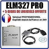 Elm 327 OBD 2 avec Cable USB Interface de diagnostique OBD II pour PC + Logiciel - ELM327 -...