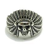 Anillo de plata de ley sólido 925 Indio Cráneo R001696