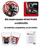 Uni que Kit Star Wars Final Battle 52 pièces Disney Anniversaire Fête 16 Enfants (16 gobelets, 16 Assiettes et 20 Serviettes) 10 Bougies offertes