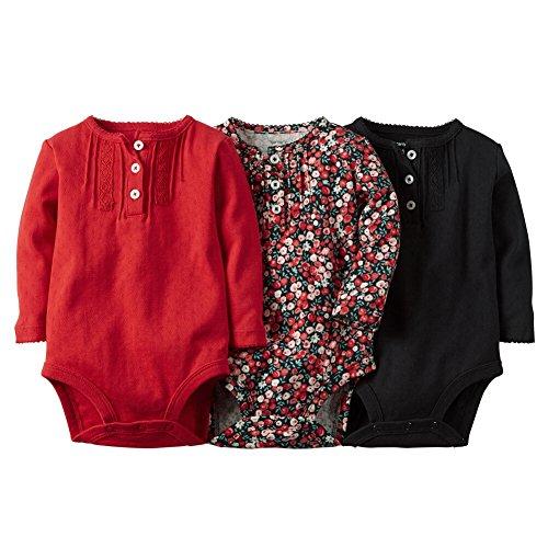 Carters Baby Girls 3-Pack Long-Sleeve Bodysuits Floral Pintuck NB