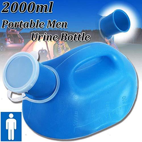 ESSORT Men Orinatoio Bottiglia, 2000 ML Bottiglia Urina Portatile, Portable Bedpans Pee Bottle, Adatto per Uomini, Anziani e Pazienti Paralyzed, 26.5 x 14 x 16 cm, 1 Confezione