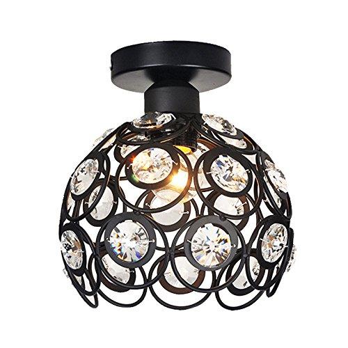 Marokko Style Kristall Deckenleuchte, Lampenschirm aus Kristall Eisen Metall Elegante Deckenlampe für Wohnzimmer Schlafzimmer Sala Schwarz - Light-schwarz-kristall-kronleuchter
