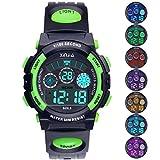 Reloj Digital para Niños,Niños Niñas 50M (5ATM) Impermeable 7 Colores LED Relojes Deportivos Multifuncionales para Exteriores con Alarma (Negro Verde)