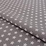 Hans-Textil-Shop Stoff Meterware, Sterne 8 mm, Weiß auf