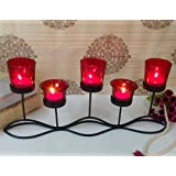 TiedRibbons Tlight Candles Diwali Décor (Red Glass Snake Shape) | Diwali Home Decor | Tealight Holder For Home Decoration | Lightings Decorations For Diwali | Corporate Gifts For Clients