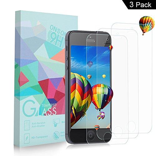 [3-Pack] Vetro Temperato iPhone 5S / 5 / SE / 5C, Pellicola Protettiva ONSON® in Vetro Temperato Screen Protector Film Ultra Resistente (0,33mm HD Alta trasparente) per iPhone 5S / 5 / SE / 5C