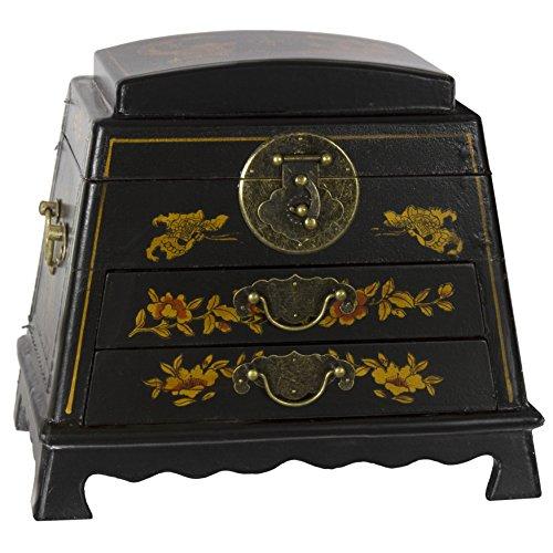 Oriental Möbel Lack Abgerundete Jewelry Box, schwarz, L (Schwarz Spiegel Asiatischen)