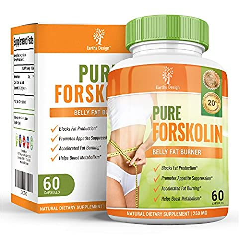 Forskolin 250mg - Pure Active Forskolin - Coleus Forskohlii Root Extract - Suitable for Vegetarians - 60 Capsules (1 Month Supply) by Earths Design