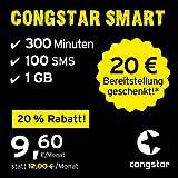 congstar Smart Tarif, SIM, Micro-SIM und Nano-SIM, monatlich kündbar (9,60 Euro/Monat, 1 GB Datenflat mit max. 25 Mbit/s, monatlich 300 Minuten und 100 SMS) in bester D-Netz-Qualität