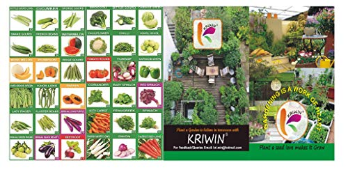 KRIWIN 36 Varieties Organic Fruits and Vegetables Seed with Instruction Booklet and 1685 Seeds ...