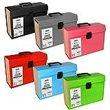 ASAB 19Pocket Expanding file Folder Holder–A4documento organiser–richiudibile portatile portadocumenti in pelle con top Tabs–etichetta per documenti, con maniglia–nero