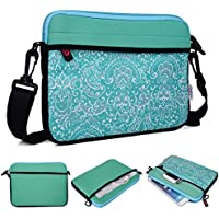 Kroo Tablet/Laptop Sleeve Custodia con tracolla per Karbonn A37 verde Teal