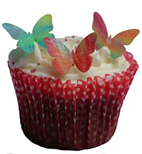 Toppercake Edible Wafer Butterfly Cup Cake Decorations Mini Multi Coloured