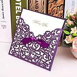 HENGSONG 25 Stück Hochzeit Einladungen Elegant Floral Hohl Spitze Design Einladungskarten mit Bowknot Deko (Lila)